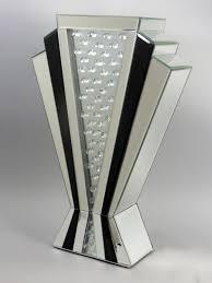 100 Art Deco Shape Style V Black Stripe Mirrored Floating Crystal Vase