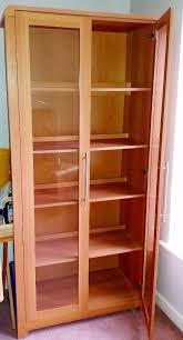 Light Oak Modern Display Cabinet With Wooden Shelves And Glass