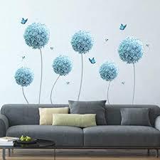 decalmile wandtattoo blau allium blumen wandsticker schmetterling wandaufkleber groß wohnzimmer schlafzimmer wohnheim wanddeko