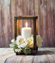 Reclaimed Wood Candle Lantern Centerpiece Rustic Wedding
