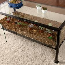 Great Southern Enterprises Terrarium Glass Display Coffee Table In Black With Plan