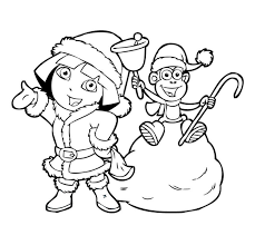Christmas Coloring Pages Dora