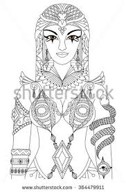 Zentangle Cleopatra Queen Of Egypt Design For Coloring Book Adult Anti Stress Pages