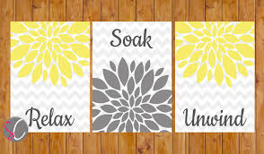 flower burst yellow grey gray wall decor bathroom relax soak