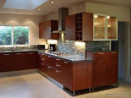 Modern Cherry Kitchen Glass Tile Backsplash Designer Kitchens