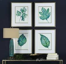 Spring Leaves Watercolor Reproductions Framed Prints Set Of 4