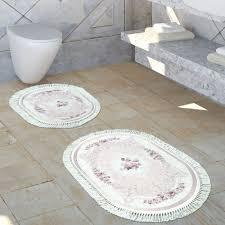 badezimmer teppich set blumenmuster waschbar