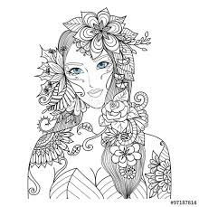 Vector Forest Fairy With Beautiful Flowers For Coloring Book Adult