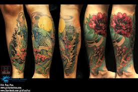 Oriental Koi And Peony Color Tattoo Lower Leg
