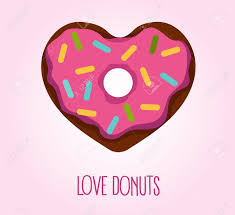 Vector flat style illustration of donut in heart shape with glaze and decorative sprinkles Logo