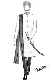 Sketch Of Harbhaja Singhs Wedding Dress