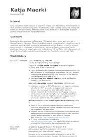 Tefl Elementary Teacher Resume Example