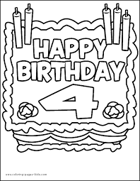 Birthday Cake Four Years Old Color Page Holiday Coloring Pages