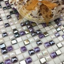 purple mixed white color mini ceramic mosaic tiles for
