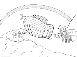 Noahs Ark Coloring Pages With Rainbow