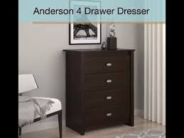 Sauder Beginnings 4 Drawer Dresser Cinnamon Cherry by Essential Home Anderson 4 Drawer Dresser Features Youtube