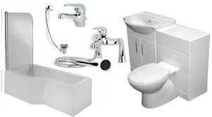 l shape shower bath with vanity furniture suite and taps