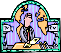 TV News Reporter Royalty Free Vector Clip Art Illustration