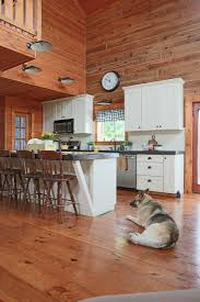 Log Cabin Kitchen Backsplash Ideas by Painted Beadboard U0026 Stained Barstools Creative Cain Cabin
