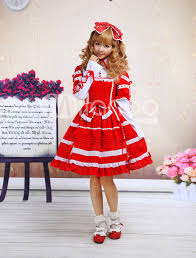 red and white bow cotton sweet dress red and white bow