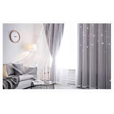 1 2 5m fenstervorhang ausgehoehlt sterne shading vorhang drapieren purdah fuer home wohnzimmer schlafzimmer grau