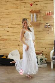 Ivory Lace And Tulle A Line Rustic Floor Length Wedding Dress
