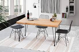 gozos esstisch massivholz aus baumstamm holztisch esszimmer 140x80 aus massiven holz mit pingu metallbeinen baumkantentisch handgefertigt aus