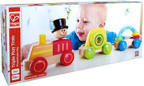 Hape Kitchen Set Canada by Hape Wooden Railway Triple Play Wooden Train Set Figures Amazon