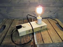 Recycled Pallet Wood Table Lamp or Wall Sconce Reclaimed