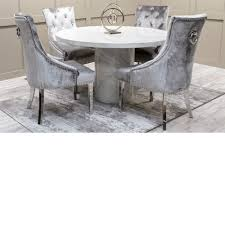 Carra Bone White Marble Round Dining Table - 1300 Inc Belvedere Chairs