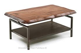 Modern Industrial Coffee Table Metal Console Walnut