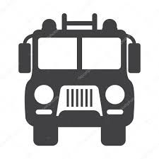 Fire Truck Black Simple Icon On White Background For Web — Stock ...