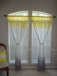 ombre dip dyed yellow and grey curtain panel on etsy com