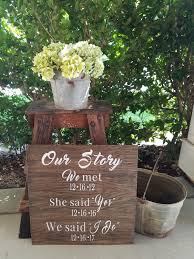 Our Story Wood Sign Rustic Love Custom Wedding Signs