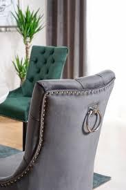 casa padrino luxus chesterfield esszimmer stuhl grau silber schwarz küchenstuhl mit samtstoff esszimmer möbel