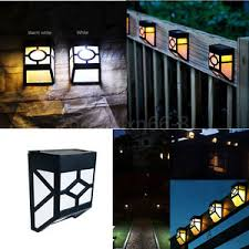 solar powered wall mount led light outdoor path yard garden fence
