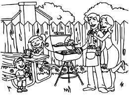Family Barbeque Backyard Picnic Coloring Page
