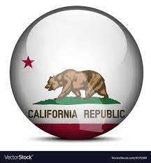 Map On Flag Button Of USA California State Vector Image