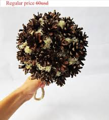GRAND SALE Wedding Bouquet Grey Brown Pine Cone Big Ball Moss Jute Bridal Bouquets Home Decor Rustic Accessories Country Table