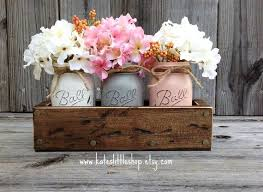 Rustic Planter Box With 3 Painted Mason Jars Home Decor
