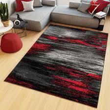 teppich kurzflor modern meliert design schwarz grau rot