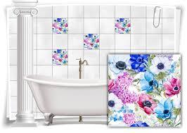 fliesen aufkleber fliesen bild mosaik kachel struktur blumen blau rosa lila sticker bad wc küche