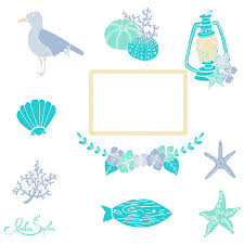 Beach Wedding Clipart Nautical Invitation Clip Art Sea Coastal Ocean Seashells Hydrangea Wreath DIY Turquoise Mint Lilac