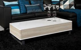 table basse design réglable en bois laqué brillant blanc porto