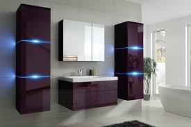 badmöbel set new aubergine hochglanz schwarz keramik waschbecken badezimmer led beleuchtung badezimmermöbel keramikbecken