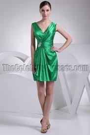 green short v neck party homecoming bridesmaid dresses