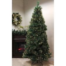 Pre Lit Flocked Artificial Christmas Trees by 9 Flocked Pine Long Needle Prelit Artificial Christmas Tree Ebay