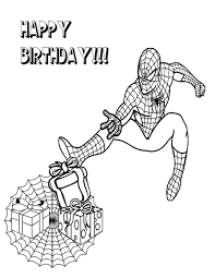 Spiderman Giving Birthday Gifts Coloring Page