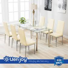 100 6 Chairs For Dining Room 7 Piece Table Set For Clear Glass Metal Kitchen