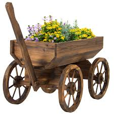 Patio Plant Stands Wheels by Garden Wood Wagon Flower Planter Pot Stand With Wheels Home
